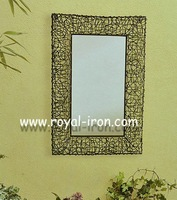 Wrought iron mirror+WOVEN frame,anti-rust,radiation protection,longevity,new style,metal&glass,foldable