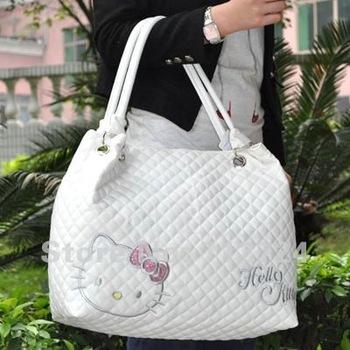 Free Shipping! Hello Kitty Ladies White PU Leather Hand Shoulder Bag HandBag Tote Purse
