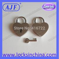AJF Silver Heart shape padlocks with key for wedding decoration-A01-021HW