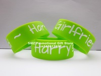 Harry's Girlfriend One Direction Harry Styles Fan Crush Bracelet 1,custom design,50pcs/lot,debossed color filled silicone band