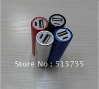 2014 Mixed interface 2000mAh Aluminum Tubes Cylindrical Mobile Power for iPhone 4/4S, Various Cell Phones and Digital Devices