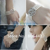 Hot Fashion Rose Flower 4-Layers Pearls Bracelet Pure White Free Shipping