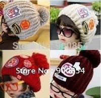 Freeshipping!!!  MZ028 South Korea's most IN labeling wool cap parent-child cap children hat 6pcs = 1lot  MIX COLORS
