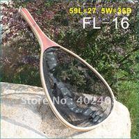 High quality wooden frame nylon net landing net with bottom ruler FL-16  fly fishing / fishing  wood / rubber net, 59L*27.5W*35D