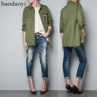 navy green short trench with turn-down collar and diamond decoration in pocket free shipping for epacket and china post air mail