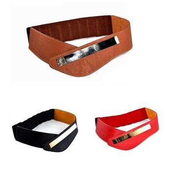 2014 Newest Fashion Metal Mirrow Skinny Buckle Elastic Leather V Style Cummerbund Wide Waistband Belts for Women M040