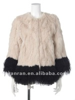 Free shipping YR-750 New arrive color combinations Japanese style rabbit & mongolia fur jacket-Wholesale-retaile-customize