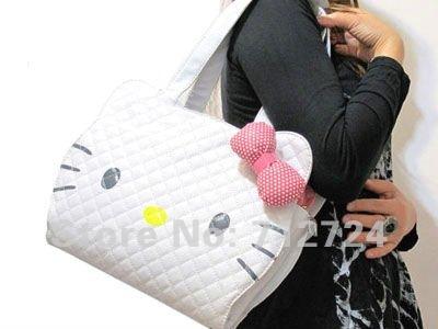 Hello Kitty Cute Girl's White Patent Leather Handbag Shopping Tote Hand Shoulder Bag Purse /Free Shipping! hk55(China (Mainland))
