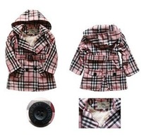 Free shipping Fahion  Gilrs Trench,Kids Winter Clothes. For 2-7 yrs old girl.