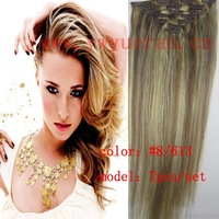 "# 8-613 mix brown and blonde clip in on full head remy 100% human hair extensions Straight 7 pcs 100g 16"" 18"" 20""22"" 24""26"" 28"""