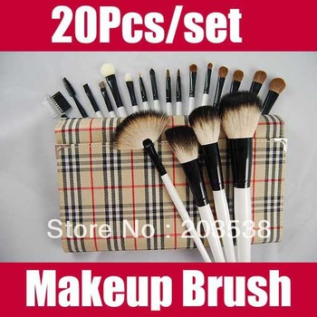 20 pcs/set Professional Makeup Brush Set Cosmetic Make up Brush With Fashion Roll Up Bag Free shipping+Dropshipping To Brazil