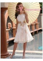 Free Shipping A Line Sweetheart Knee Length Ruffles Lace Summer Wedding Dresses