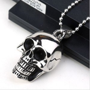 High Quality 316L Titanium Steel Fashion Skeleton Men Jewelry Stainless Steel Skull Pendant Necklace For Men