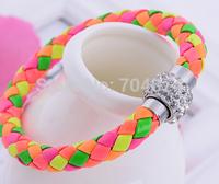 Free shipping  2014  wholesale 60pcs  so beautiful women leather bracelets  manual bracelets