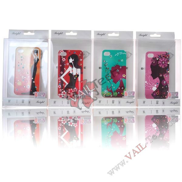 Promotion! Graceful Girl Design With Bling Decoration diamond stone crystal case for apple iphone 4,Free shipping(China (Mainland))