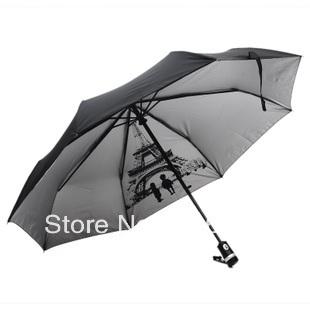 New elargol coating UV protection automatic umbrella three fold umbrella, tower printed inside, good quality