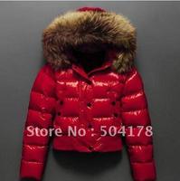 Women's Down Coat Female Slim Short Design Red Shiny Large Fur Collar Aplin Down Jacket Fashion Warm Winter Jacket  Hot Selling
