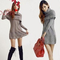 2013 hot sale  Fashion  Long Sweater  Dress For woman With Cape  4 color 1 size