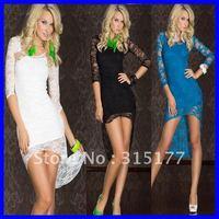 Free shipping Fancy Dress with Lace Train Sexy clubwear Dress new fashion 2012 Wholesale 10pcs/lot  Summer dress 6120