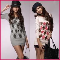 Women Sweater [SEKKES] 2015 Fashion Rhombus Pattern Knitted Sweater Women Pullover Casual Knitwear  SWT20