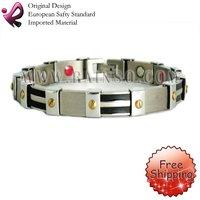 "Free Shipping Fashion Jewelry Healing Magnetic Bracelet Titanium 8.5"" Magnetic Titanium Bracelet OTB-317BFIR"