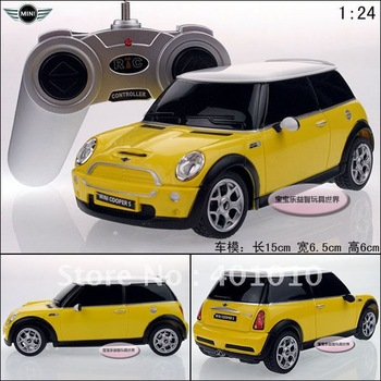 New yellow mini cooper s remote control car model educational RC toys free air mail