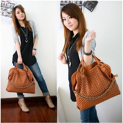2012 Fashion PU Leather Weaving Handbag Korean style Lady Hobo PU leather bag Popular Shoulder Messenger Bags Wholesale Q046(China (Mainland))