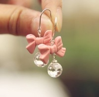 Sunshine jewelry store fashion lovely pink bow earring e229 (min order $10 mixed order)