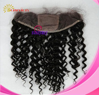 "Natural Color Curly  Brazilian Virgin Human 4""*4"" Silk Top Hair Frontal (13""*4"")"