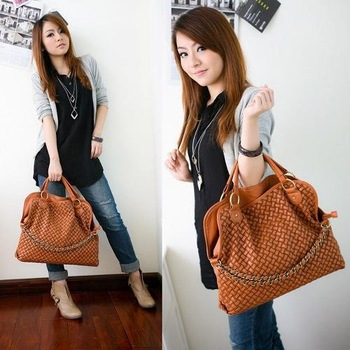 2014 Casual Brand  women handbags high quality Korean WEAVING GRID designers shoulder bags for woman PU leather tote
