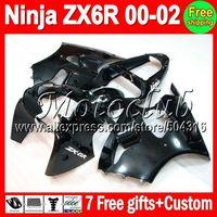 On sale+7gifts ALL black For KAWASAKI NINJA ZX6R ZX636 00-02 ZX 6R 636 ZX-6R ZX-636 00 01 02 2000 2001 2002 Gloss black Fairing