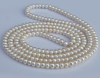 AAA 7-8mm Women's Natural Freshwater Long Pearl Necklace 125 cm Gift (1piece) +Wholesale&Retail+Free Shipping