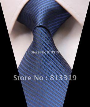 TS1011B Pure Navy Blue Stripe Jacquard Woven Classic  Man's Tie Necktie