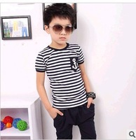 Free shipping (5sets/lot) 100%cotton 2pcs T-shirt+pants kids outfits children summer kids set