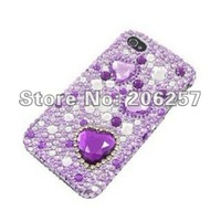 Special offer! Premium Bling Luxurious Design Diamond Crystal Snap-on Large Purple Hearts phone Case for iphone 4/4s