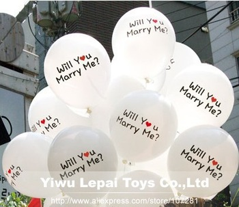 "100pcs/lots, 12 inch "" will you merry me ?""  Printing Latex Balloon , wedding decorate balloons"