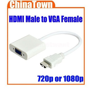 HDMI Male to VGA RGB Female Cable HDMI to VGA Video Converter Adapter 1080p for PC PS3 Free Shipping + Drop Shipping