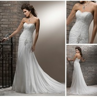 Free Shipping WD018 New Style Sweetheart Lace Top Fishtail Elegant Chiffon Wedding Dresses 2014