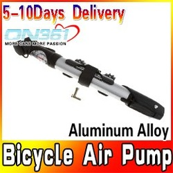 Bike Bicycle Air Pump Tire Aluminum Alloy with Pressure Gauge Presta Shrader Free shipping(China (Mainland))
