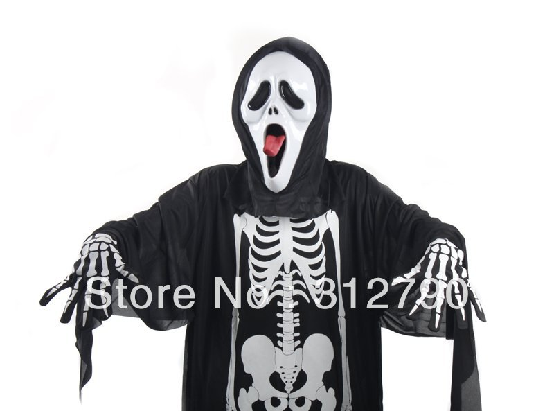 New wholesale fashion halloween cosplay party costumes,skeleton clothes+ scream mask+skeleton gloves ,gift 2sets(China (Mainland))