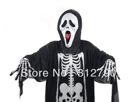 New wholesale fashion halloween cosplay party costumes,skeleton clothes+ scream mask+skeleton gloves ,gift 2sets