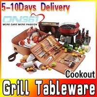 New BBQ Barbeque Tool Grill Tableware Camping Picnic Cookout Tote Bag Set
