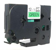 TZ2 741 black on green 18mm tz label 100 compatible label