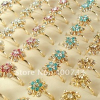 Mix Lots of 20 PCS Gold Plated Flower Style Rhinestone Crystal Lady's Adjustable Rings A074