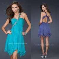 New Arrival Beaded Turquoise Chiffon Short Sexy Open Back Cocktail Party Dresses 2014 One Shoulder FN017 robe de cocktail