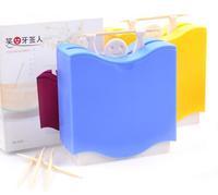 150pcs/ctn wholesale pocket Plastic toothpick lifting man Design Automatic Toothpick Holder dispenser Box red yellow blue mixed