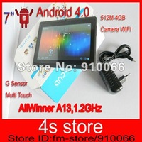 Free Shipping 7 inch A13 Android 4.0 Tablet PC  1.2GHZ 512MB 4G With Camera WIFI Allwinner A13 tablet pc