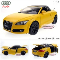 New Yellow 1:18 AUDI hardtop TT  roadster sports car alloy car model free air mail