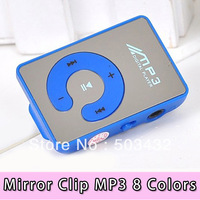 Fashion Style Mirror Clip MP3 player with TF Slot 6 colors in stock 50pcs/lot free shipping by DHL