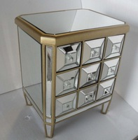 MR401213 glass mirrored chest with 9 small drawers